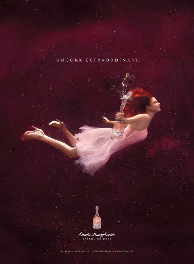 Underwater Advertising Santa Margherita Rose Wine